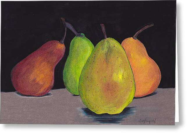 Pears In Colors Greeting Card by Lea Velasquez