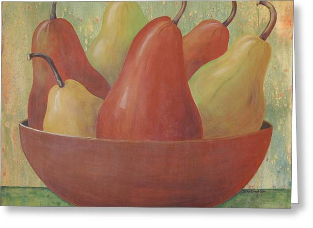 Pears In Copper Bowl Greeting Card