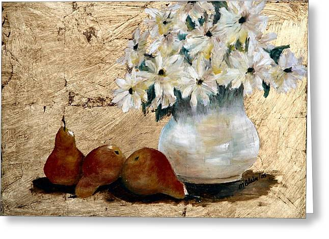 Pears On Gold Greeting Card by Merle Blair