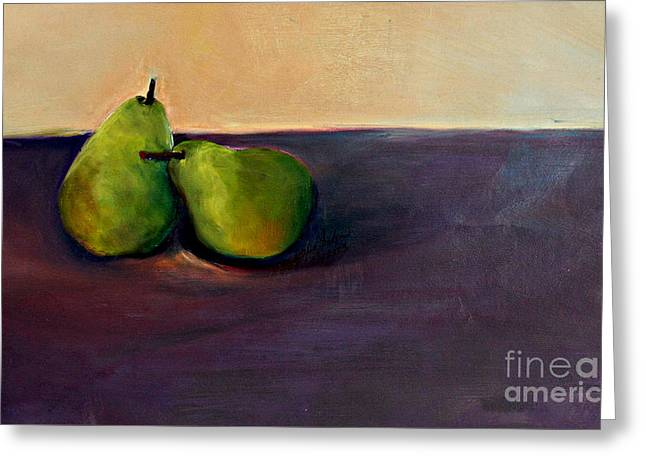 Pears One On One Greeting Card by Daun Soden-Greene
