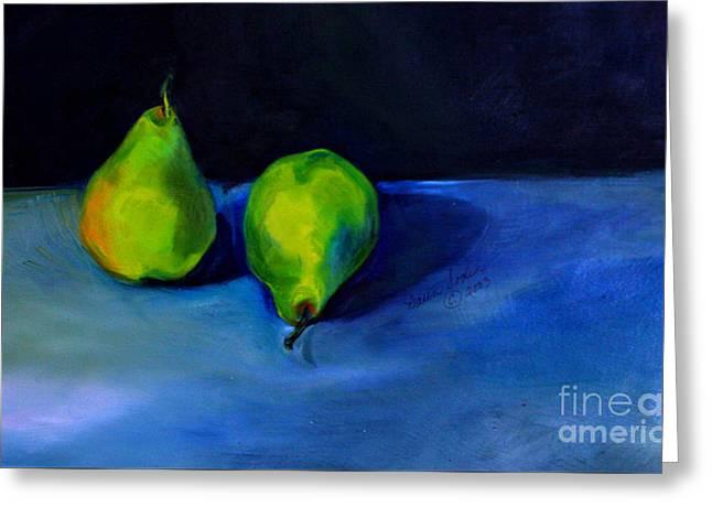 Pears Space Between Greeting Card by Daun Soden-Greene