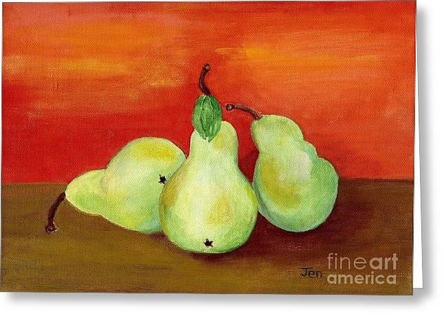Pears Still Life Greeting Card by Ann Gordon