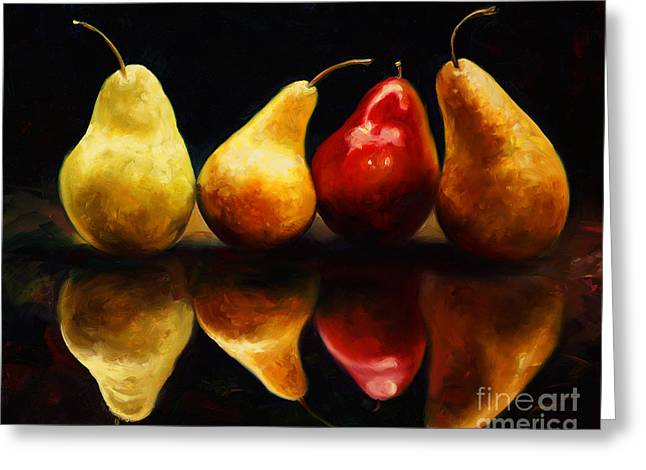 Pearsfect Greeting Card by Laurie Hein