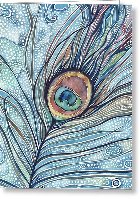 Greeting Card featuring the painting Pea's Feather by Tamara Phillips