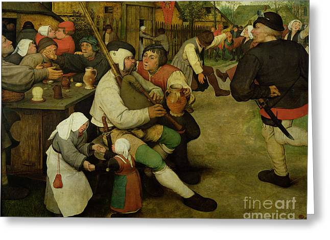 Peasant Dance Greeting Card by Pieter the Elder Bruegel