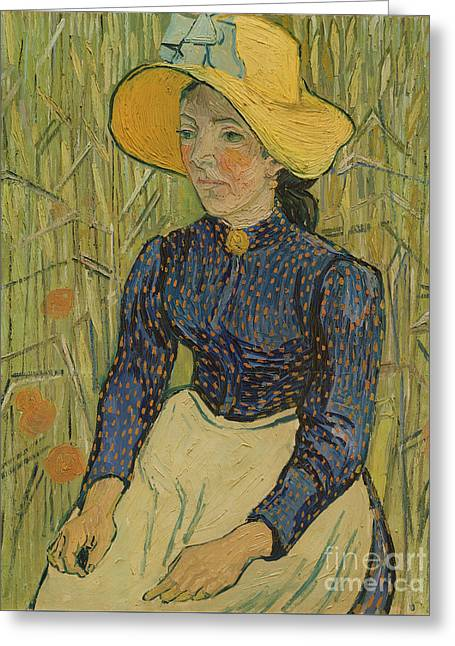 Peasant Girl In Straw Hat Greeting Card by Vincent van Gogh