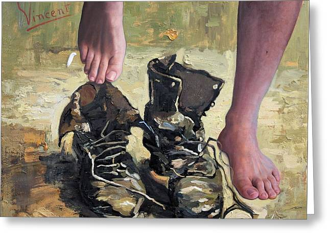 Peasant Shoes My Foot Greeting Card by Richard Barone