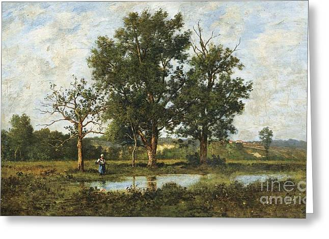 Peasant Woman By A Pond Greeting Card