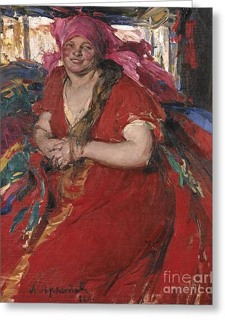 Peasant Woman In A Red Dress Greeting Card by Celestial Images