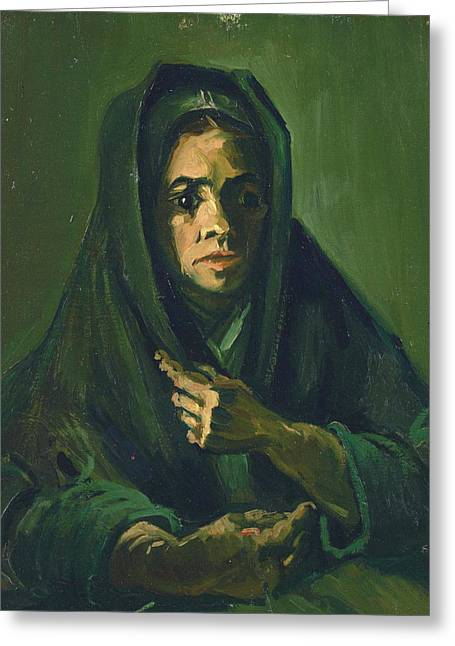 Peasant Woman With Dark Hood, 1885 Greeting Card by Vincent Van Gogh
