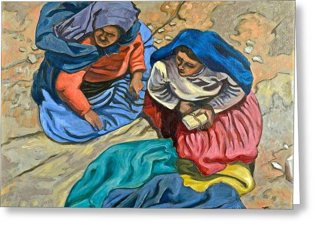 Peasant Women, Peru Greeting Card by Mary Villanueva-Tuomy