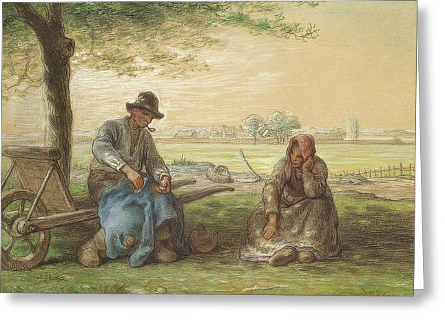 Peasants Resting Greeting Card by Jean-Francois Millet