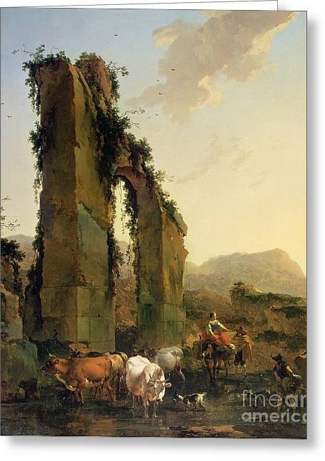 Peasants With Cattle By A Ruined Aqueduct Greeting Card by Nicolaes Pietersz Berchem