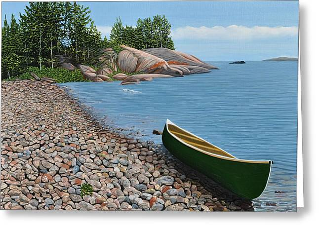 Canoe Paintings Greeting Cards - Pebble Beach Greeting Card by Kenneth M  Kirsch