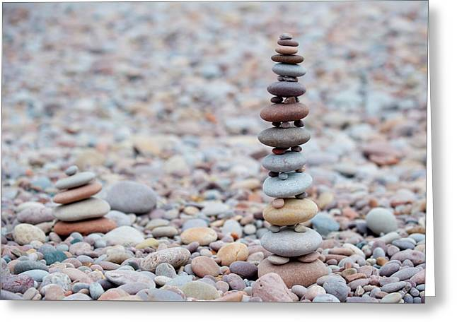 Pebble Stack II Greeting Card by Helen Northcott