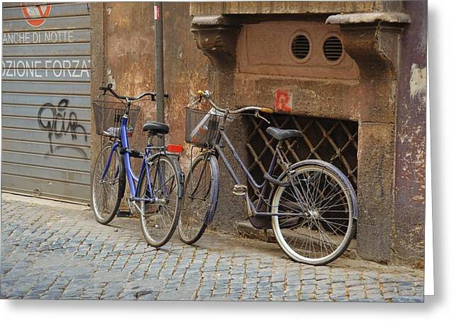 Bicycling Thru Rome Greeting Card by JAMART Photography