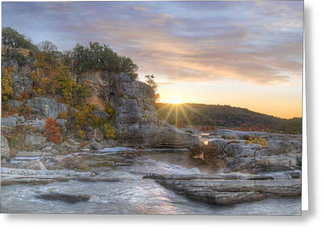 Pedernales Falls Autumn Panorama From The Hill Country Greeting Card by Rob Greebon