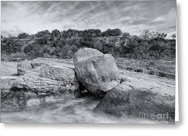 Pedernales River Falls In Black And White - Texas Hill Country Greeting Card by Silvio Ligutti