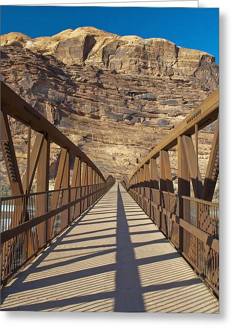 Walking Bridge Greeting Cards - Pedestrian Bridge With a Rocky Background Greeting Card by Thom Gourley/Flatbread Images, LLC