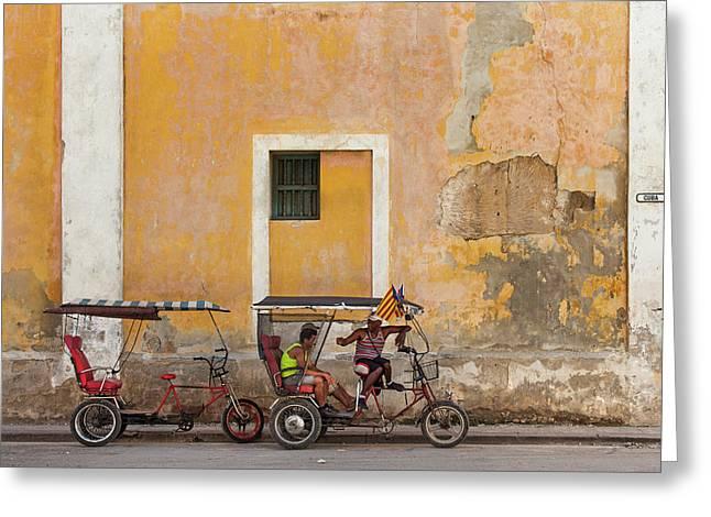 Greeting Card featuring the photograph Pedicabs At Convento De Santa Clara Havana Cuba by Charles Harden