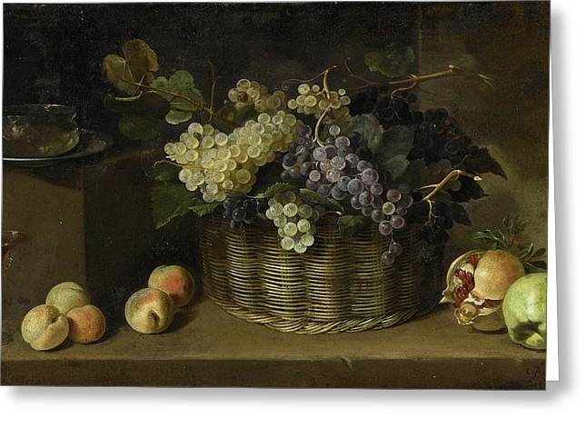 Pedro De Camprobin Y Passano Still Life With A Basket Of Grapes, Peaches, An Apple, A Pomegranate, A Greeting Card