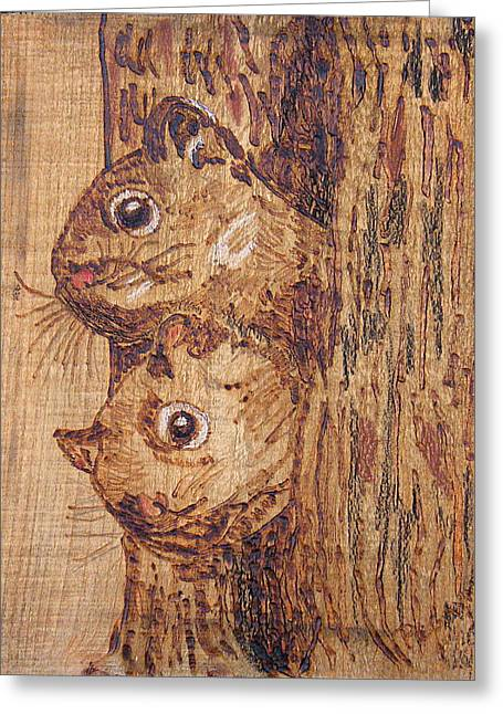 Woodburnings Pyrography Greeting Cards - Peek A Boo Greeting Card by Margaret G Calenda