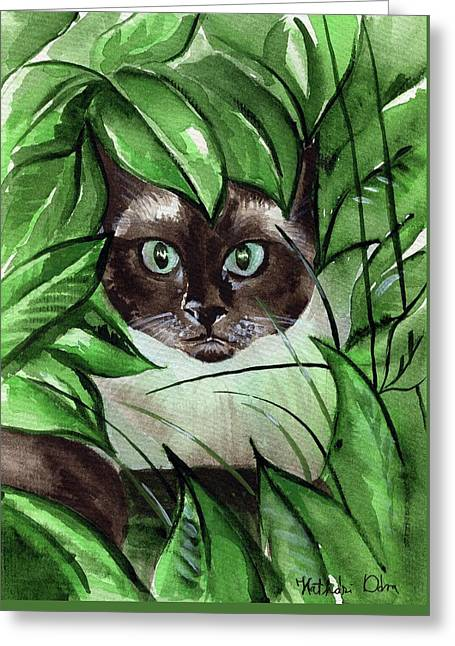 Greeting Card featuring the painting Peek A Boo Siamese Cat by Dora Hathazi Mendes