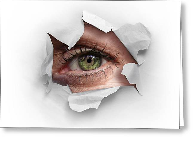 Human Greeting Cards - Peek Through a Hole Greeting Card by Carlos Caetano