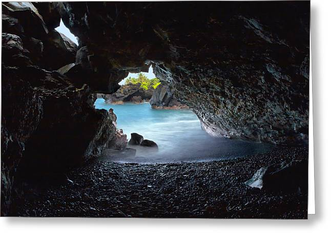 Greeting Card featuring the photograph Peeking Through The Lava Tube by Susan Rissi Tregoning