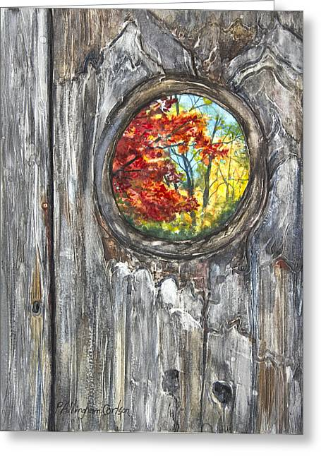 Knothole Greeting Cards - Peeky Hole Through The Fence I Greeting Card by Patricia Allingham Carlson