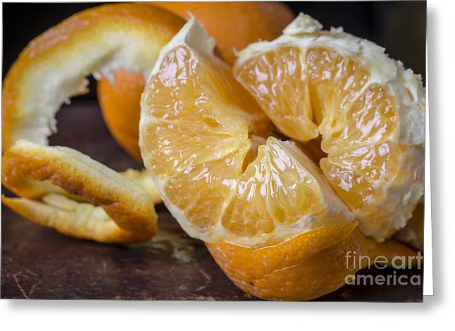 Peeled Orange Still Life Greeting Card by Edward Fielding