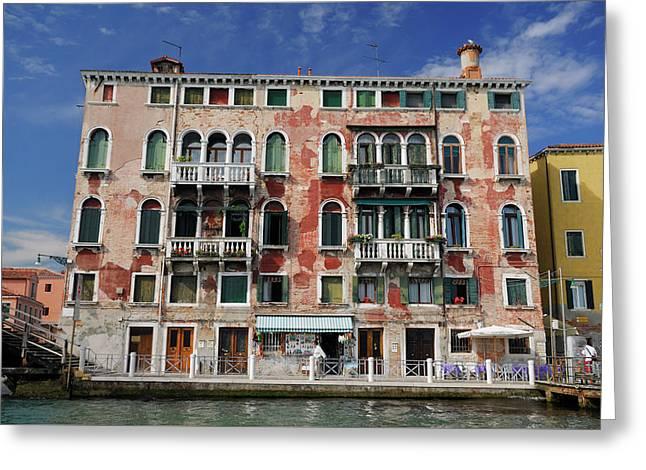 Peeling Red Stucco On A Venetian Building At San Basilio Waterbu Greeting Card