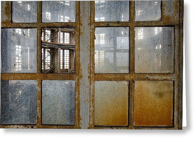 Peeping Inside Factory Hall - Industrial Decay Greeting Card by Dirk Ercken
