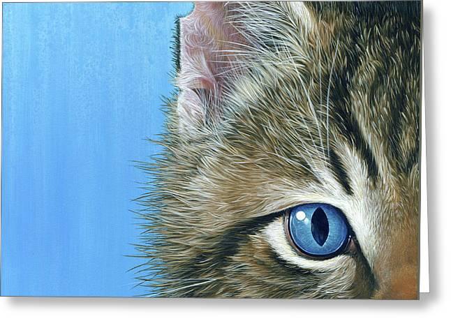 Peeping Tom II Greeting Card by Cara Bevan