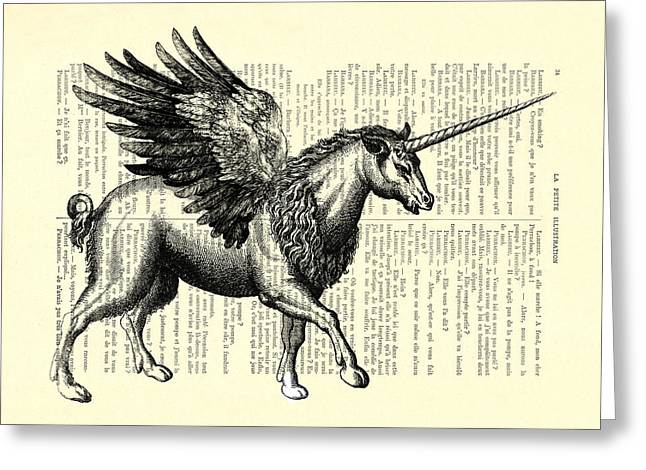 Pegasus Black And White Greeting Card
