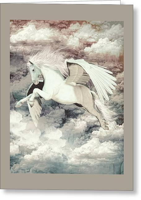 Pegasus Flight Olympus Greeting Card by Quim Abella