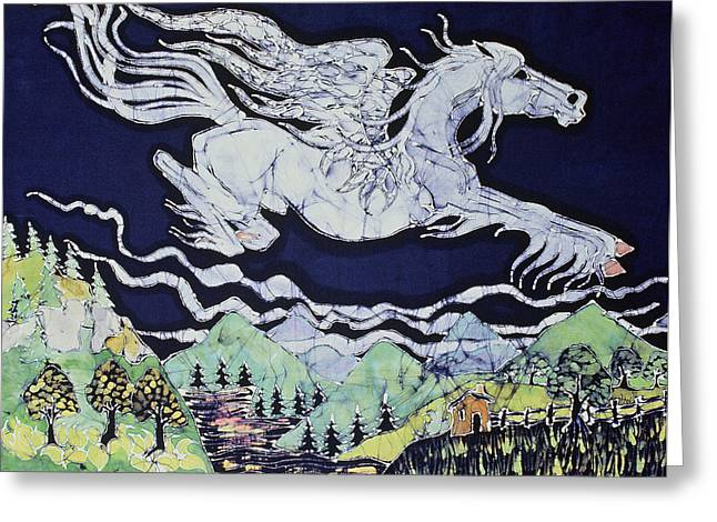 White Horse. Tapestries - Textiles Greeting Cards - Pegasus Flying Over Stream Greeting Card by Carol  Law Conklin