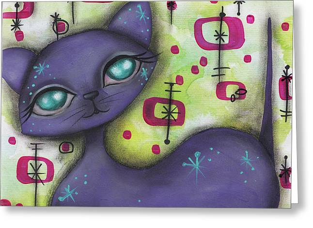 Peggy Cat Greeting Card by Abril Andrade Griffith
