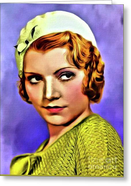 Peggy Shannon, Vintage Actress. Digital Art By Mb Greeting Card