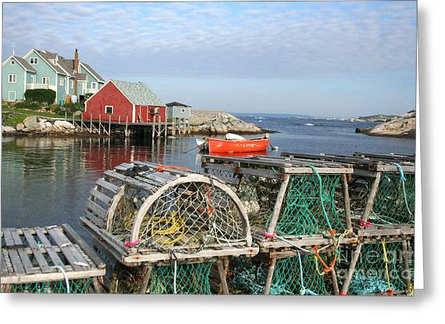 Peggys Cove And Lobster Traps Greeting Card by Thomas Marchessault
