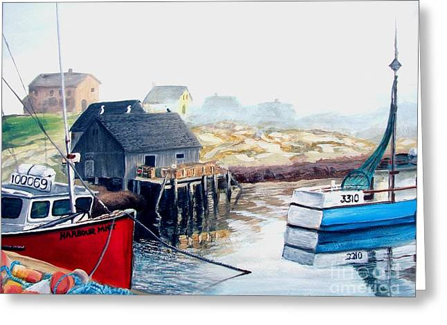 Greeting Card featuring the painting Peggy's Cove Harbour by Patricia L Davidson