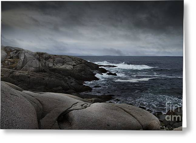 Peggys Cove Impending Storm Greeting Card by Nancy Dempsey