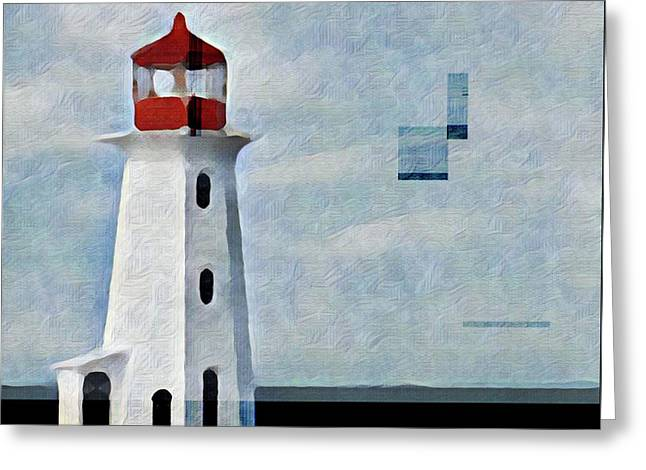 Peggys Cove Lighthouse Painterly Look Greeting Card by Carol Leigh