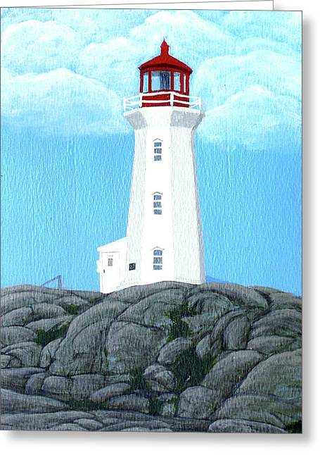 Peggy's Cove Lighthouse Painting Greeting Card by Frederic Kohli