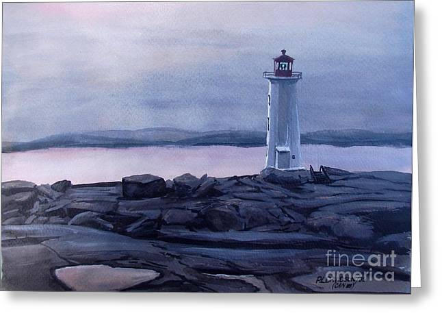 Greeting Card featuring the painting Peggy's Cove Lighthouse  by Patricia L Davidson