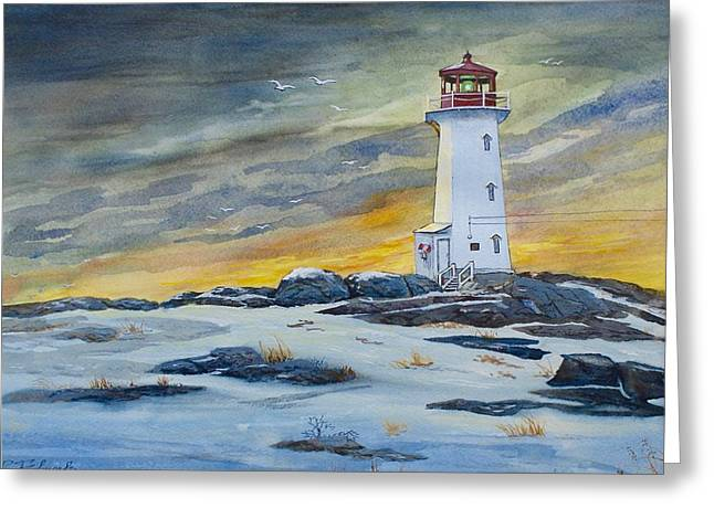 Peggy's Cove Lighthouse Greeting Card by Raymond Edmonds