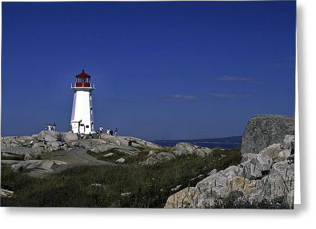 Peggy's Cove Lighthouse Greeting Card by Sally Weigand