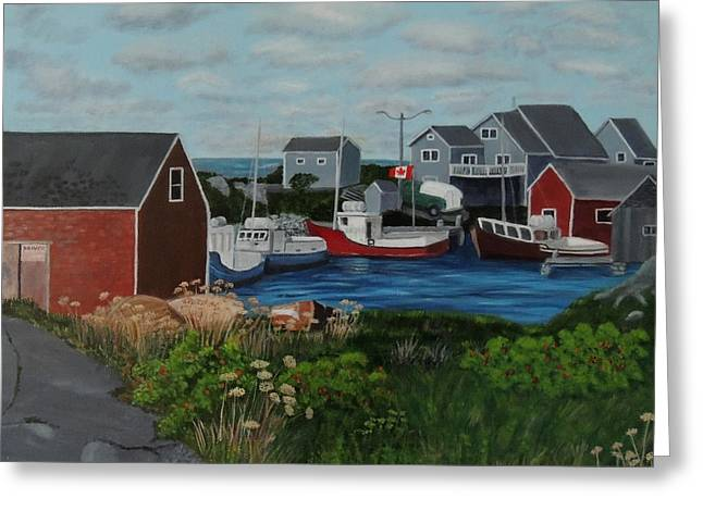 Peggy's Cove Greeting Card by Lisa MacDonald