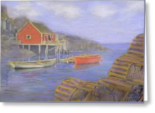 Peggy's Cove Lobster Pots Greeting Card by Ian  MacDonald