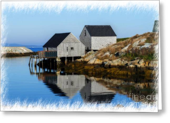 Peggys Cove Marina With Fishing Houses  Greeting Card